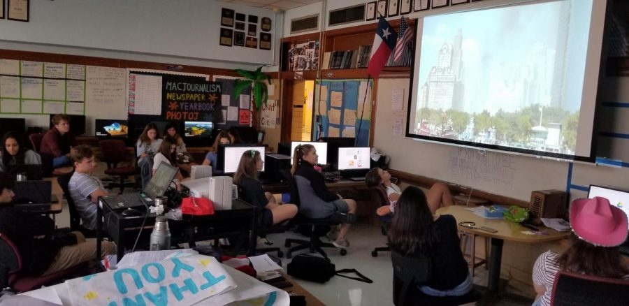 Students in Mr. Winters third-period photojournalism class watch the 2011 documentary, Boatlift, which features first-hand accounts of the heroic effort of ordinary boat operators to rescue nearly half a million stranded New Yorkers in southern Manhattan in the wake of the 9/11 attacks on the World Trade Center.