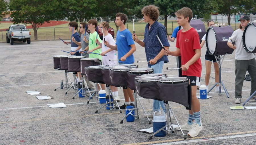 The+drum+line+rehearsed+with+the+rest+of+the+percussion+section+for+the+upcoming+Dripping+Springs+Percussion+contest+on+Sept.+21.