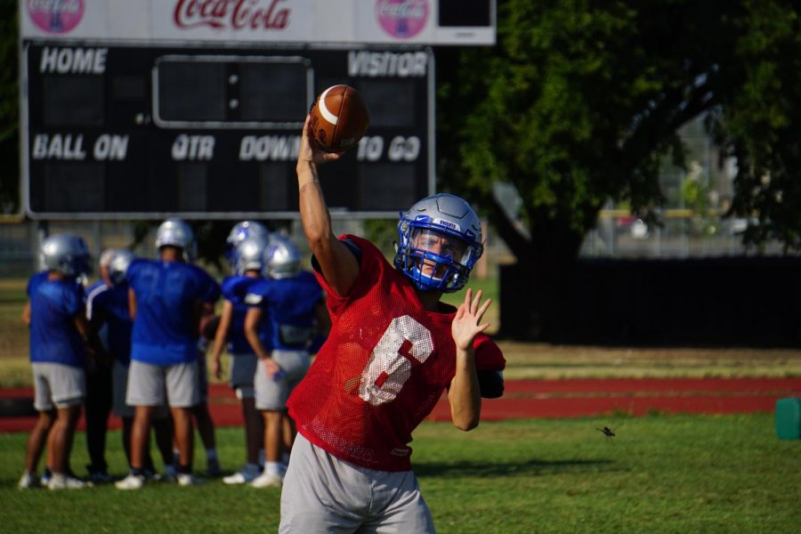 Sophomore Jaxon Rosales was pressed into duty as quarterback after senior Cole Davis was injured early in the first quarter of the Taco Shack Bowl. He threw his first varsity touchdown pass in the fourth quarter to Takai Satberry for the Knights' first points of the young season.