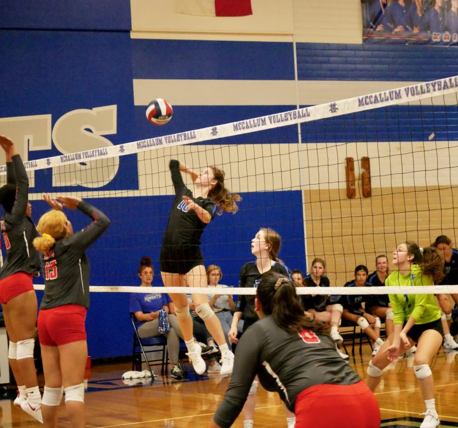 Junior+outside+hitter+Sarah+Weisbrodt+leaps+up+for+a+kill+against+Travis+on+Friday%2C+Sept.+27.+After+defeating+the+Rebels%2C+the+Knights+have+a+5-0+conference+winning+record%2C+as+does+Dripping+Springs%2C+their+opponent+for+Tuesday+night%27s+match.