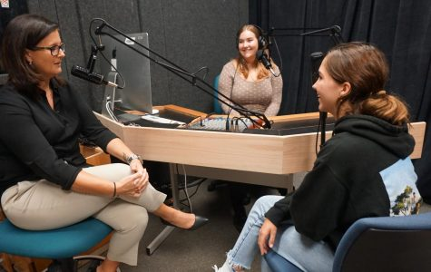 Interim principal Brandi Hosack shared with seniors Stella Shenkman and JK Smith that relationship-building is the key to making a campus work and also the prime reason behind the new cell phone policy and the flexible instruction time initiative.