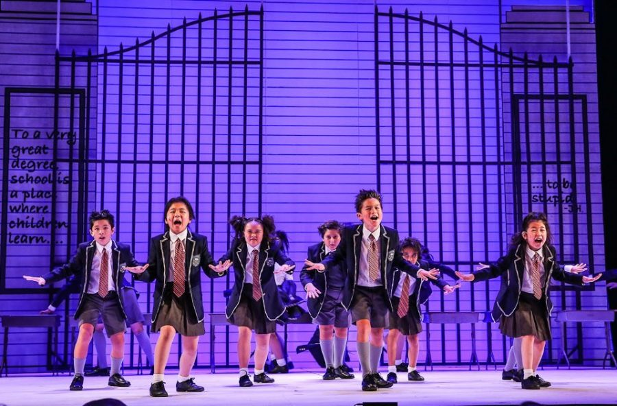REVOLTING+CHILDREN%3A+At+the+end+of+the+musical+Matilda%2C+the+school+children+%E2%80%9Crevolt%E2%80%9D+against+the+evil+rule+of+their+headmistress%2C+Miss+Trunchbull.+This+results+in+a+large.+extravegant+dance+number%2C+which+Uehara+states+was+definetly+one+of+her+favorite+to+choreograph.+Uehara+said+that+the+young+dancers+expressed+a+joy+of+learning+that+was+wonderful+for+her+to+witness.+Photo+by+Brad+Mondo.