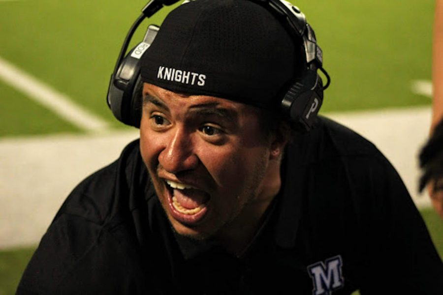 RAMPED UP ROD: During the McCallum Knights' varsity loss to LBJ on Sept. 19, Coach Ryan Rodriquez addresses the defense after a key third down stop. Despite a few bright spots, like forcing LBJ to punt, the Knights had a difficult day on defense. The Knights hope to use their bye week to put in some extra work to prepare for Dripping Springs on Oct. 4.