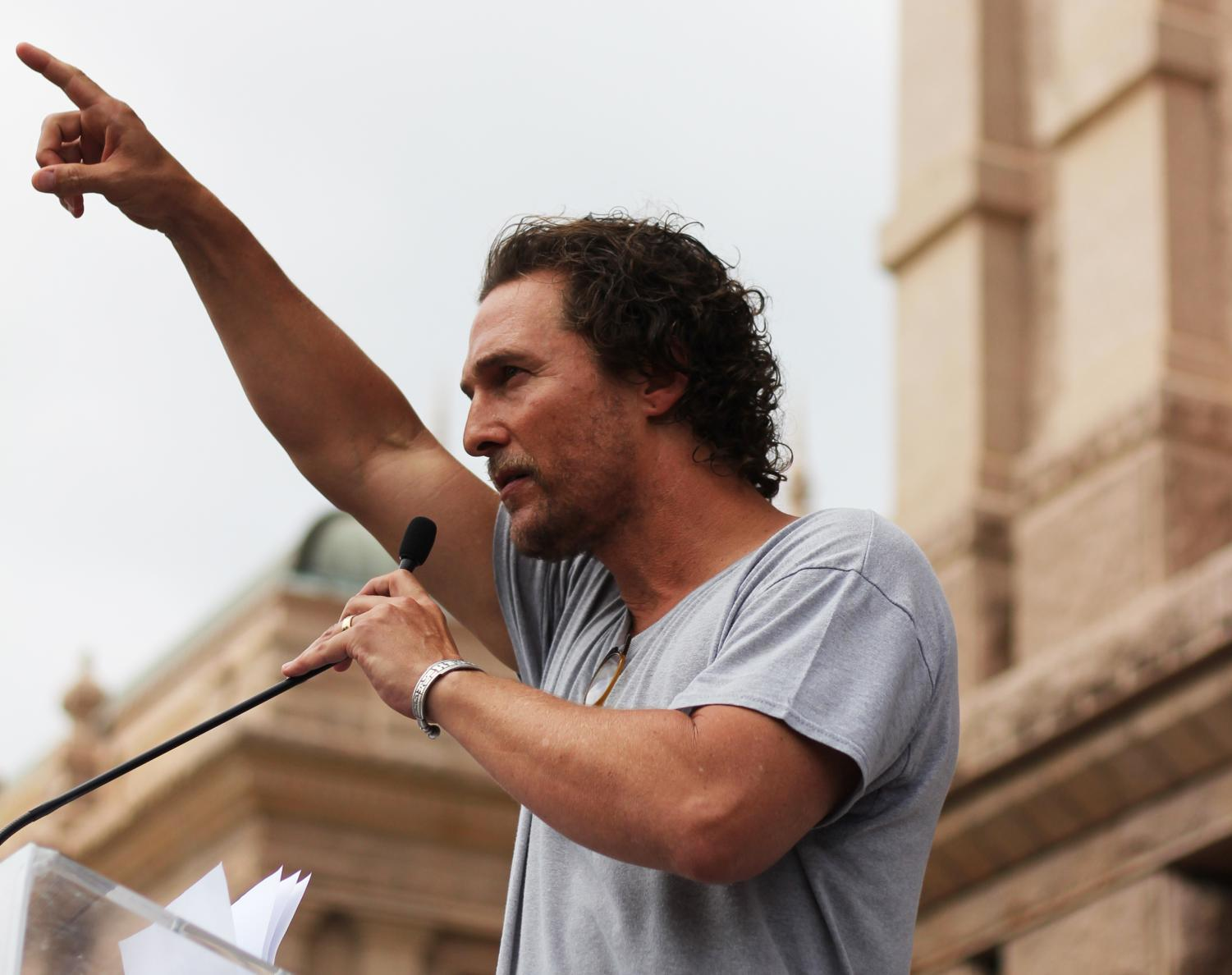 "Actor and activist Matthew McConaughey was among the speakers at the #MarchForOurLives in downtown Austin on March 24, 2018, which attracted more than 10,000 to the Capitol today. ""This is an American issue,"