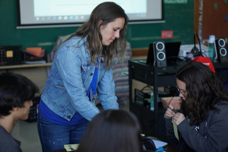 Kristen Wachsmann interacts with a student. She admires the diversity of her students.