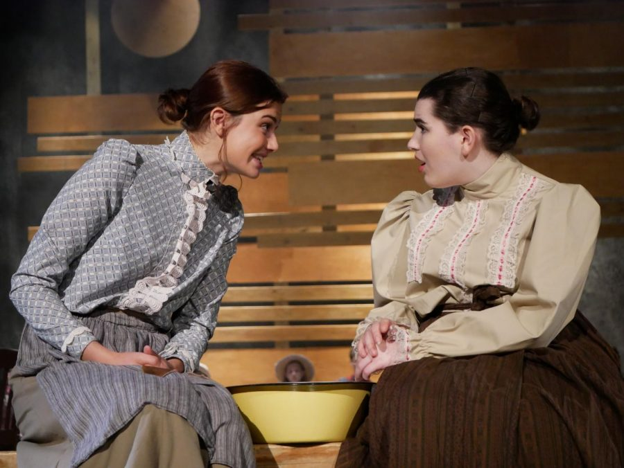 """OUR TOWN IS OPEN: Last night, MacTheatres spring straight play, Our Town, debuted in the FAB Theatre. """"The script is timeless."""" Lighting designer and junior Zoe Griffith said. """"It covers the experiences of families that have been occurring since the beginning of time. It includes birth, marriage and death."""" Our Town will continue with shows in the FABT tonight at 7:00 pm, as well as Saturday at 7:00 pm, and Sunday at 2:00 pm. Photo by Stella Shenkman."""