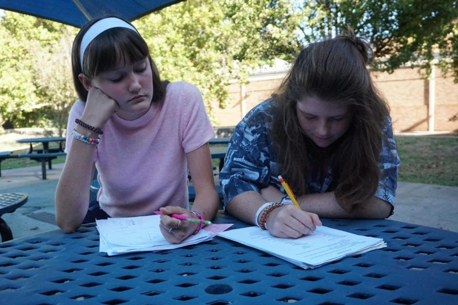 Sophomores Jewel New and Lily Christie work on their numerous homework assignments after school. New points out that it's unfair and counterproductive to assign an extraneous amount of homework following a seven-hour school day.