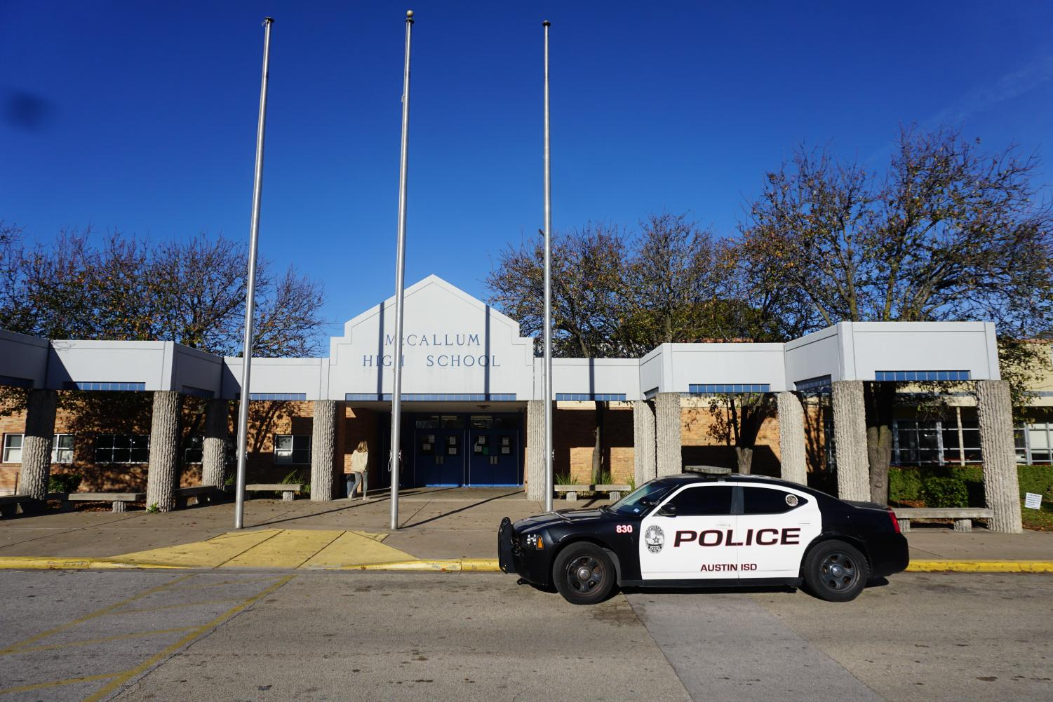 ALWAYS VIGILANT: Austin ISD Police car remaining on guard outside of McCallum. Although this car is mainly for show, police presence at McCallum is not. Photo by Tomas Marrero.