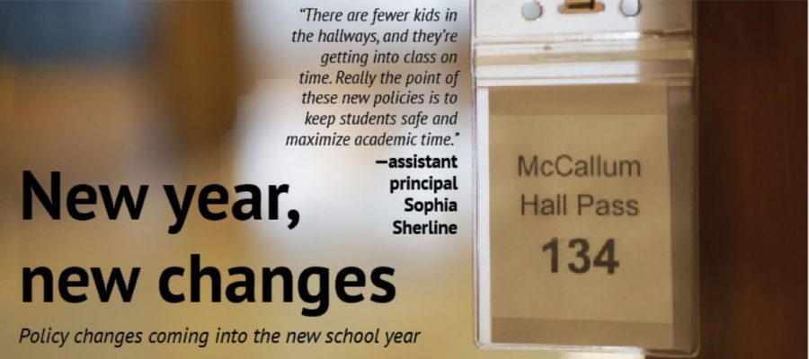 Hall+passes+on+lanyards+are+part+of+the+new+policy+changes+at+McCallum+this+year.+Given+to+all+teachers%2C+students+are+expected+to+leave+class+with+the+pass+in+hand.+Photo+illustration+by+Dave+Winter.%0A