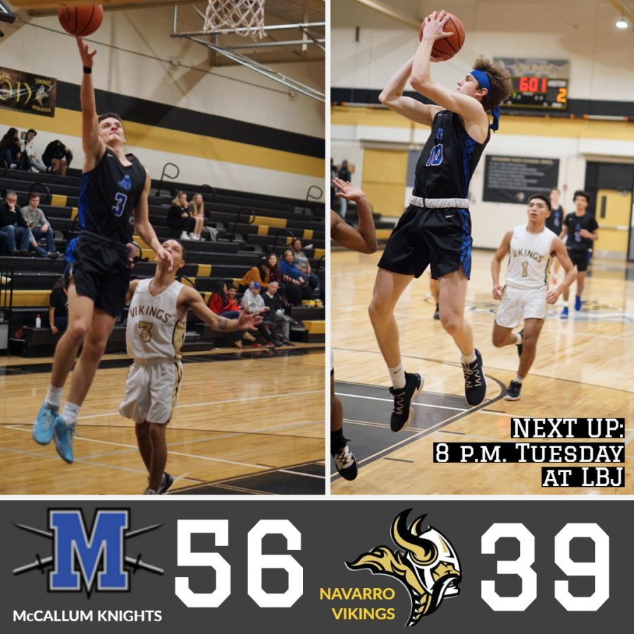 The versatile Wade brothers both scored 11 points in the game to lead the Knights in scoring. John Wade, left, made three 3-pointers and contributed mightily to a second-period run that put the Vikings in the rear-view mirror. Photos by Annabel Winter.