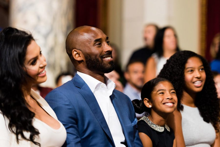 Kobe Bryant with his wife Vanessa and his daughters Gianna and  Natalia at the public announcement that Aug. 24, 2016, would be Kobe Bryant Day in the city of Los Angeles. Bryant and his daughter Gianna were among the nine passengers killed in a tragic helicopter crash in southern California on Sunday. Photo by Christopher K.Nelson was accessed on the Flickr account of Mayor Eric Garcetti. Under the Creative Commons Public License, we are reprinting it here with permission.