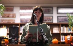 Ivy Jane Golyzniak performs her spoken word poetry at the annual Coffee House hosted by Excalibur. Photo by Ellen Fox.