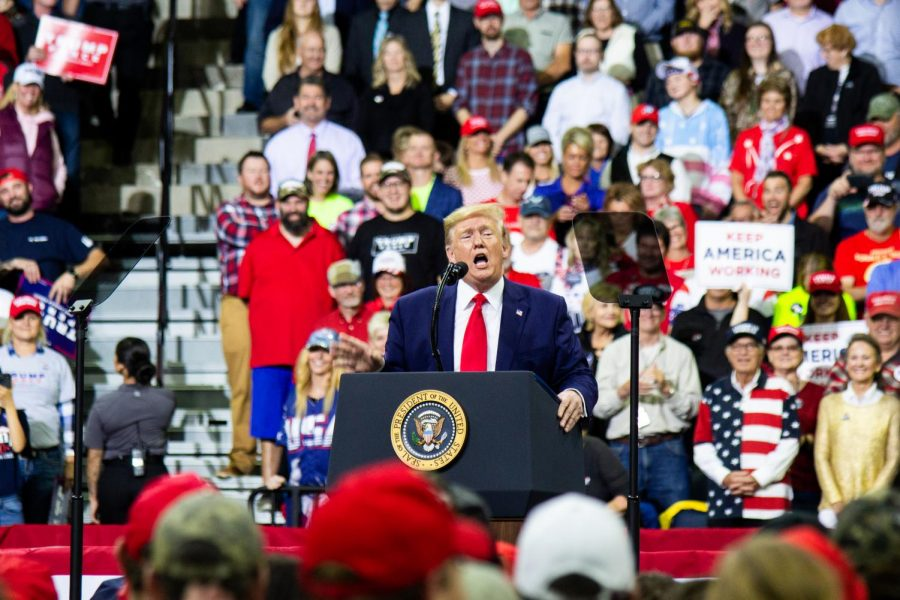 President+Donald+Trump+addresses+the+crowd+at+Target+Center+in+Minneapolis%2C+MN%2C+for+his+2020+presidential+campaign+rally+on+October+10%2C+2019.+Photo+by+Nikolas+Liepins.