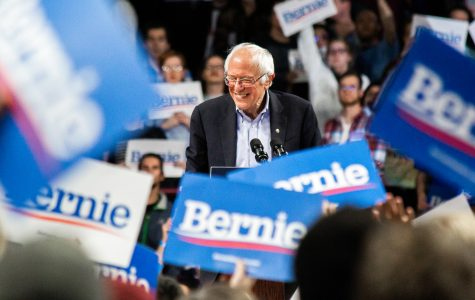 Senator Bernie Sanders, shown here addressing a sea of his supporters at Williams Arena in Minneapolis during his 2020 presidential campaign rally on Nov. 3, is gaining support heading into tonight's Iowa Caucus, according to The New York Times. Photo by Nikolas Liepins.