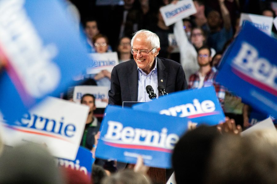 Senator+Bernie+Sanders%2C+shown+here+addressing+a+sea+of+his+supporters+at+Williams+Arena+in+Minneapolis+during+his+2020+presidential+campaign+rally+on+Nov.+3%2C+is+gaining+support+heading+into+tonight%27s+Iowa+Caucus%2C+according+to+The+New+York+Times.+Photo+by+Nikolas+Liepins.