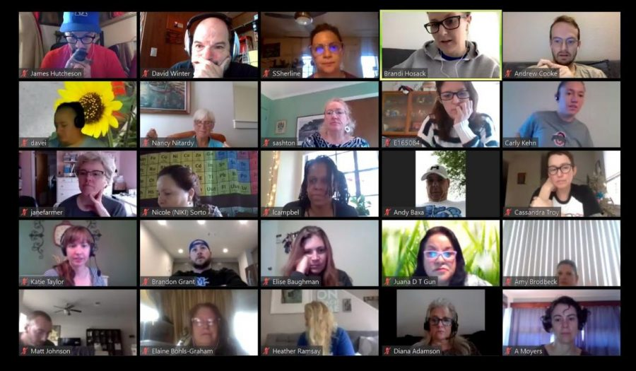 The Maculty met in two sessions this morning because Zoom conferences only enable 100 visitors at a time.  After the whole-faculty meetings, teachers met online to department to get on the same page about how online classes will operate starting April 6. In all the meetings, teachers stresses how much they miss students and need to support them socially and emotionally, not just academically.