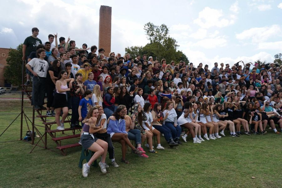 Members of the Class of 2020 strike poses for a silly picture moments after the senior panoramic picture was taken last October.