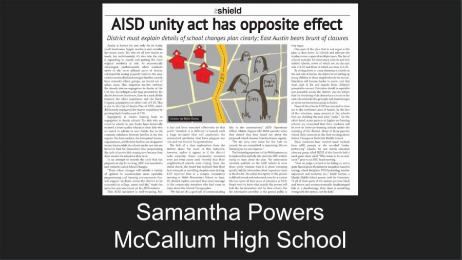 Sophomore+Samantha+Powers+won+Best+of+the+Best+in+Texas+in+the+TAJE+Best+of+Texas+Newspaper+Awards+for+her+issue+2+board+editorial%2C+%22AISD+unity+act+has+opposite+effect.%22+