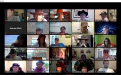 Meeting with the faculty before on the Friday before online classes were to begin the following Monday, Hosack wore a Boston Red Sox cap to observe the crazy hat day that the Maculty had devised to keep spirits high heading into the launch of online schooling. In Tuesday's podcast conversation, Hosack praised the faculty for how well it had approached online learning, saying that she was lucky to be at a school where the teachers cared so much about their students. Screenshot of Zoom April 3 faculty meeting captured by Dave Winter.
