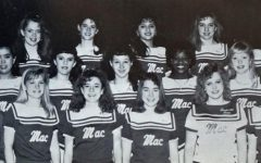 The original caption from the 1990 Knight yearbook, the year that Nancy Honeycutt Searle then Kudela (first from left on front row), became Blue Brigade director, reads: