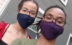 TO GRANDMA'S HOUSE WE GO: At the beginning of the quarantine, my mom ordered masks online for me, herself, my dad and my grandma. We wear these masks anytime we are going outside to do anything. This picture was taken outside of my grandma's apartment before we delivered her some groceries. Photo by Jolie Gabriel.