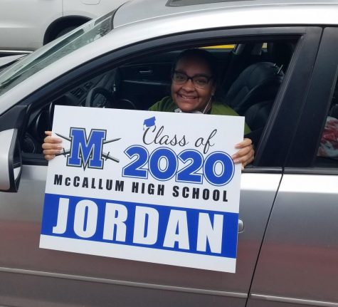 "Jordan Bibby was among the seniors who picked up a yard sign during the curbside pickup on Friday. Bibby said she hopes the virtual graduation ceremony  gives her a sense of closure. ""I feel like these past two months have blurred into one super long day with no real feeling of completion or moving toward a huge goal,"" Bibby said. ""It feels like nothing is real right now since I can't see, feel, or experience [graduating], so maybe this will be the thing that makes graduation feel like a reality.""  Photo by Elaine Bohls-Graham."