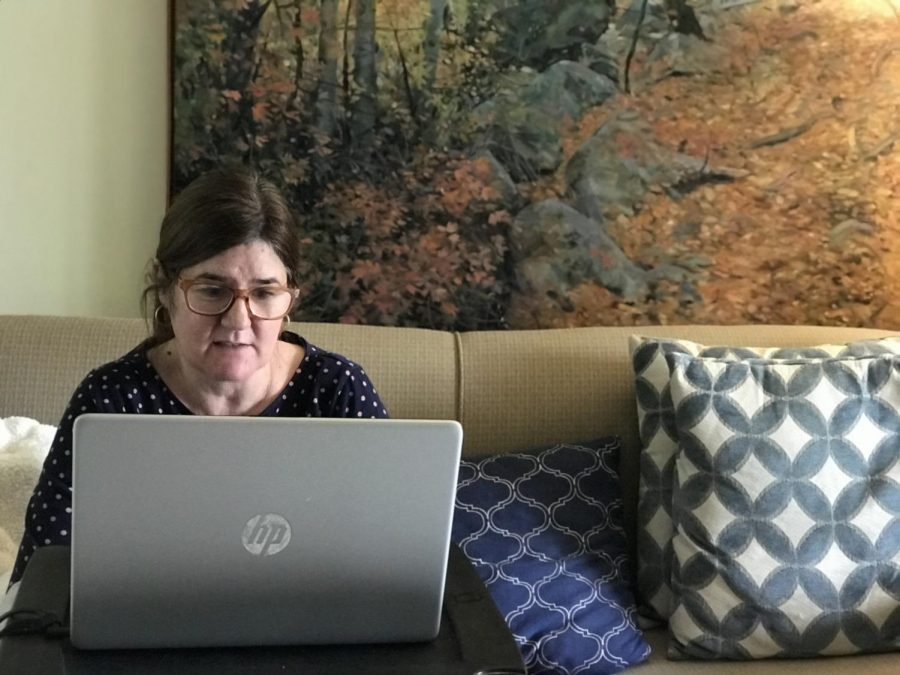 MEETINGS: This is a photo of my mom, she is currently working from home like most people due to corona. Her job is very interactive so online she isn't able to do as much as usual but she still does as much as possible. Photo by Olivia Escalante.