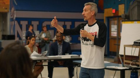 """Education Austin president Ken Zarifis, shown here speaking during the AISD budget stabilization task force meeting on Nov. 7, 2018, demanded on Wednesday that TEA and Austin ISD offer wholly online classes at least for the first nine weeks of the 2020-2021 school year. """"We have heard too much from the commissioner [and] from the governor that would lead us down the wrong path,"""" Zarifis said. """"We believe that they do not have the interests of workers, of students and their families in mind as they make the decisions that seem to be more guided by fiscal realities than human realities."""" Photo by Bella Russo."""