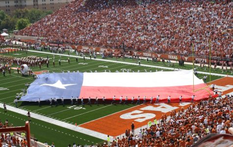 The Longhorn Band performs at a pre-pandemic football game. At the Texas football season home opener against UTEP last Saturday, the alma mater was played over the loud speaker because the band was not in attendance. Photo originally accessed on the losays Flickr account. Reposted here with permission under a creative commons license.
