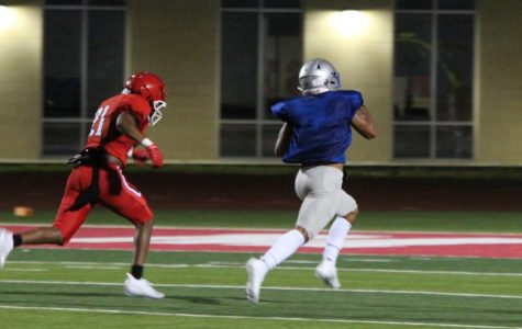 After cutting back to the middle on a play designed to go to the outside, running back Andres Rodriguez broke through the line of scrimmage for the Knights' most explosive play of the scrimmage. Photo by Dave Winter.