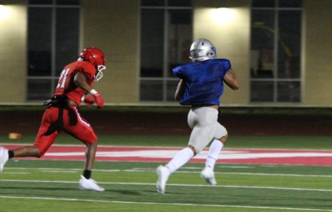 After cutting back to the middle on a play designed to go to the outside, running back Andres Rodriguez broke through the line of scrimmage for the Knights