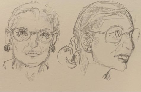 Elizabeth Miranda created these sketches of Supreme Court justice Ruth Bader Ginsburg as a weekly assignment in her art class.