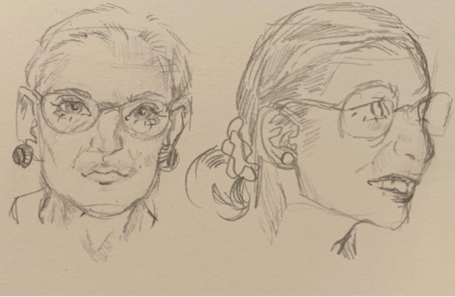 Elizabeth+Miranda+created+these+sketches+of+Supreme+Court+justice+Ruth+Bader+Ginsburg+as+a+weekly+assignment+in+her+art+class.