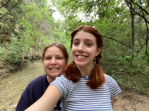 "Alba Perez and her mom Charlotte Favrin stand at the entrance to Emma Long Park taking a selfie before their hike. ""We like to go for long walks with our dog Pepper,""  Favrin said. She loves the river and we love this place"""