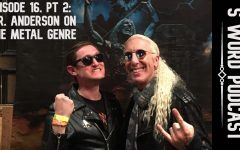 """History teacher Greg Anderson and former Twisted Sister frontman Dee Snider smile for the camera at a VIP event during Snider's solo show in Dallas. After Snider signed Anderson's copies of the Twister Sister albums You Can't Stop Rock 'n' Roll and Stay Hungry, Anderson told Snider how much he admired him for his role fighting censorship in the Parents Music Resource Center U.S. Senate hearings. """"He made a joke about how funny it would have been if Bob Denver had been at the hearings instead of John Denver,"""" Anderson said. """"He asked if I wanted to make tough guy faces in the picture, and I asked him if we could smile instead. He was very nice and everyone was walking away very happy from the experience."""" Anderson also told MacJournalism that he first became a fan of Twisted Sister after seeing the band's appearance in the final chase scene in the 1985 movie Pee Wee's Big Adventure and that he caught a guitar pick during Snider's show."""