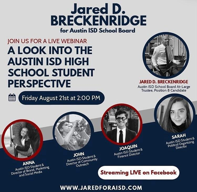 Four+McCallum+students+served+on+campaign+team+of+Austin+ISD+Board+of+Trustees+candidate+Jared+D.+Breckenridge%3A++juniors+John+Hamlet%2C+Anna+McClellan+and+Sarah+Reyes+and+sophomore+Julia+Husted.+Breckenridge+also+had+campaign+volunteers+from+Anderson+High+School+and+Ann+Richards+School+For+Young+Women+Leaders.