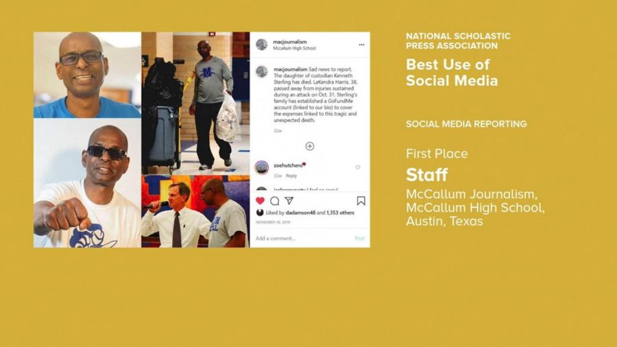 With this award slide, the National Scholastic Press Association announced that MacJournalism had earned first place in the nation for social media reporting for the third consecutive year.