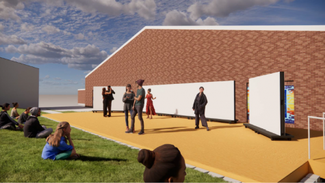 "This rendering of the outdoor stage shows its possible use as a venue for dance or theatre shows. Other renderings show the space as a venue for visual art exhibitions, for regular class meeting and for guest speakers. Junior theatre major Grace Hickey is excited for the opportunities the space would bring. ""With ... this [the outdoor stage], we might have the opportunity to do some real, in-person performing,"" Hickey said. Renderings by Symbiotech Design."