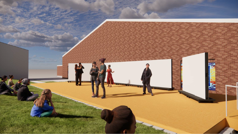 This+rendering+of+the+outdoor+stage+shows+its+possible+use+as+a+venue+for+dance+or+theatre+shows.+Other+renderings+show+the+space+as+a+venue+for+visual+art+exhibitions%2C+for+regular+class+meeting+and+for+guest+speakers.+Junior+theatre+major+Grace+Hickey+is+excited+for+the+opportunities+the+space+would+bring.+%22With+...+this+%5Bthe+outdoor+stage%5D%2C+we+might+have+the+opportunity+to+do+some+real%2C+in-person+performing%2C%22+Hickey+said.+Renderings+by+Symbiotech+Design.+