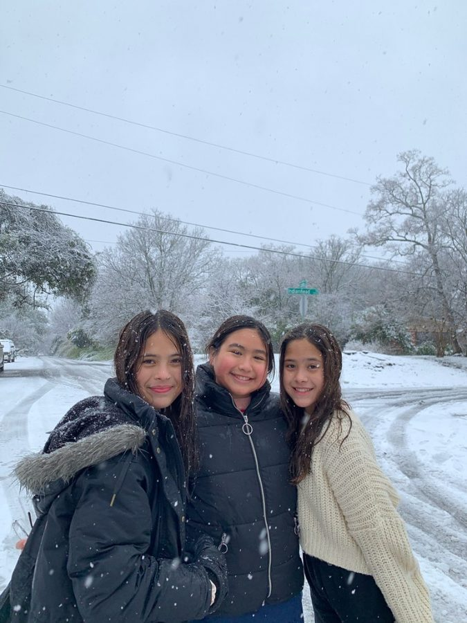 """FUNKY COLD MEDINAS: Sophomore Ava Medina and her little sisters (future Knights), and cousins spent the whole snow day outside. They did fun activities such as building snowmen, snowball fights and sledding down the street on boogie boards. """"I definitely wasn't expecting it to snow as much as it did in my area, but my little sisters had very high hopes and were very excited when they woke up,"""" Medina said. """"They got out of bed, went outside and started having a snowball fight. We had a lot of fun taking our dogs on a walk around our neighborhood and making s'mores from our fireplace."""""""
