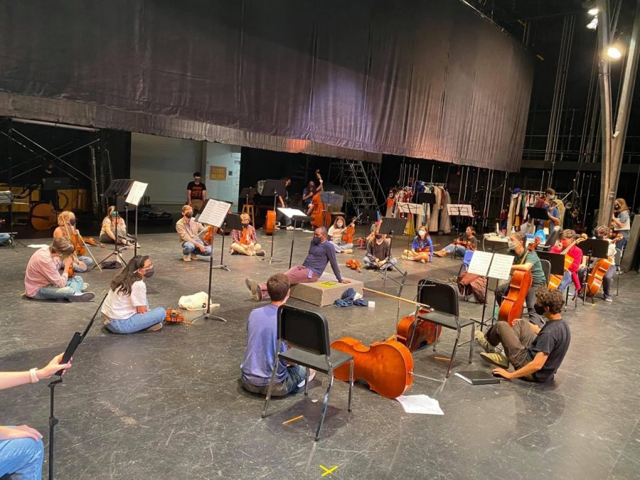 At+a+Nov.+4+rehearsal+for+their+TMEA+convention+recording+session+on+Jan.+13%2C+the+orchestra+follows+safety+protocols+to+keep+their+gathering+safe.+Students+bring+their+own+instruments+and+stands.+They+maintain+social+distance%2C+and+because+they+are+a+string+orchestra%2C+they+avoid+the+aerosol+issues+faced+by+the+band+and+choir.+