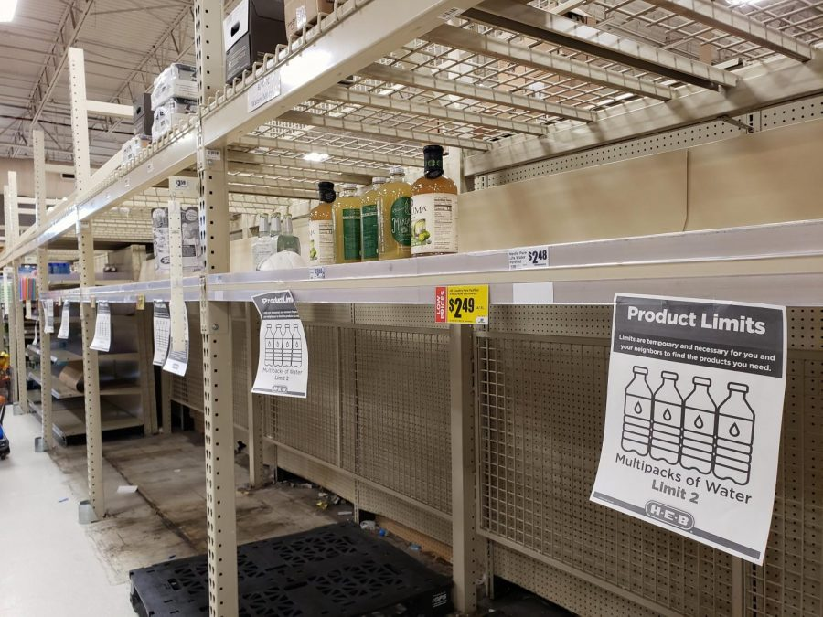 The food shortage in the city caused by multiple-day power outage gave way to a water shortage after the Austin Water announced a citywide boil water notice on Wednesday night following a power outage at the Ullrich Water Treatment Plant, Austin's largest water treatment facility caused drops in water pressures below minimum standards. By Sunday, the bottled water aisle at the Far West H-E-B was picked clean by customers. There wasn't a single bottle of purified water in the store, only a small number of boxes of water.