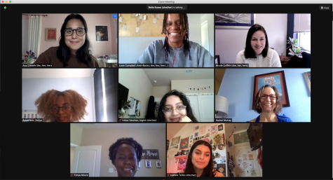 The students and teachers of the Students of Color Alliance meet with Nicole Griffith over Zoom to share ideas about fostering dialogue between students and staff.