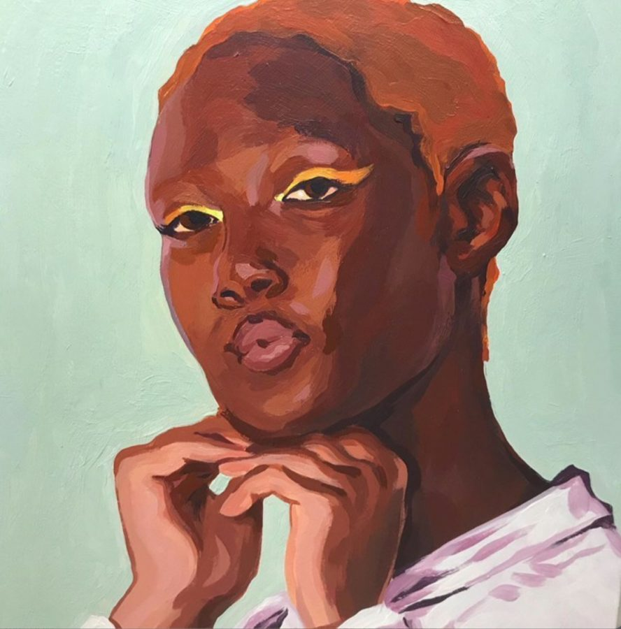 """Borden painted this portrait of Oluwatoyin Salu, a model and Black LIves Matter activist. She was murdered for speaking out against her sexual assault, Borden said. I found that moving, and I wanted to create something to remember her."""""""