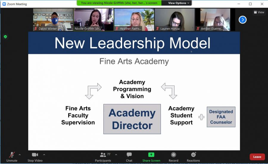 In her first parent meeting without the interim tag, Principal Nicole Griffith unveiled a restructuring plan to streamline the administration of the Fine Arts Academy in the face of budget cuts that will eliminate the fine arts coordinator position held by Heather Ramsay since 2016.
