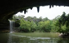 Located 30 miles west of Austin, Hamilton Pool is one of many freshwater recreation sites in central Texas that are popular because the water is so cold (50 degrees in some spots) when the weather is so hot. The site is also popular for its distinctive limestone rock formations and its 50-foot waterfall.  Also popular: Barton Springs and Deep Eddy pools.