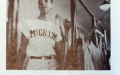 This image from Hickman's junior year, 1956-1957, Hickman poses for the camera in his role as a baseball team manager.