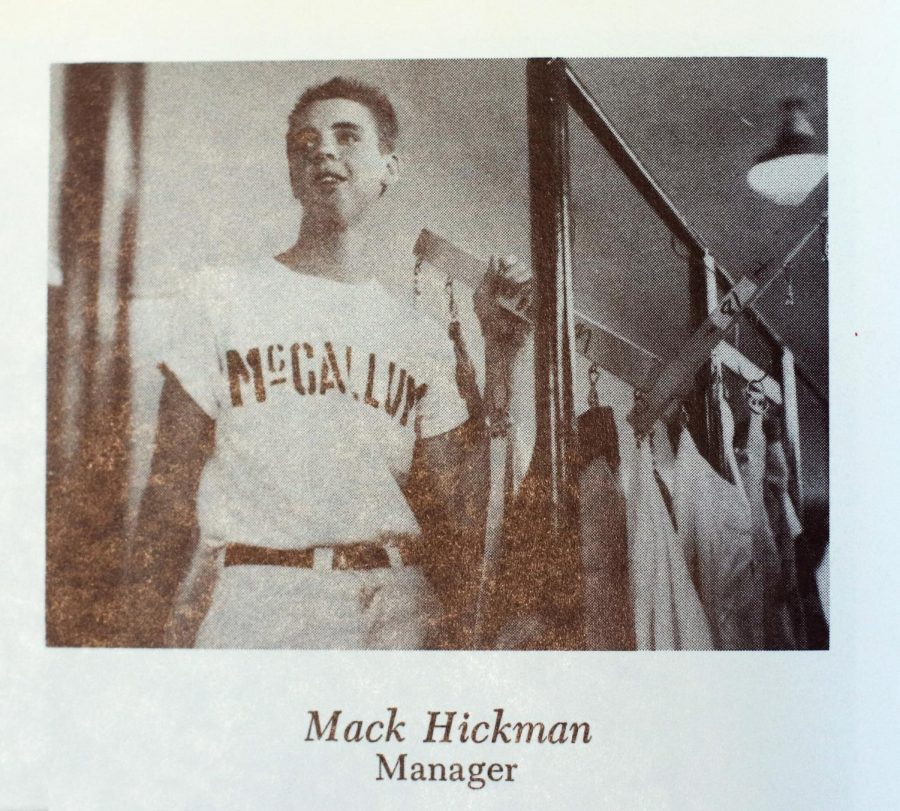 This+image+from+Hickman%27s+junior+year%2C+1956-1957%2C+Hickman+poses+for+the+camera+in+his+role+as+a+baseball+team+manager.
