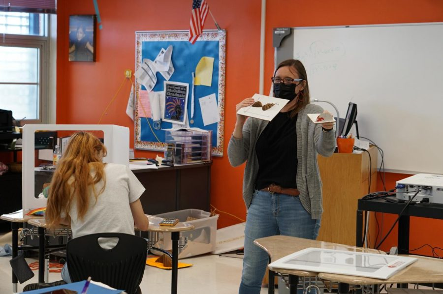 Math teacher Angie Seckar-Martinez teaches her seventh-period calculus class on Tuesday, April 20, the first non-testing day this year that in-person attendance exceeded 300. Since then, attendance on campus has exceed 400 students, just under a quarter of the total student population.
