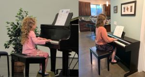 The younger version of the author and the current version both play piano. The author and pianist would like to draw attention to her perfect technique in both images as well as her flexible wrists, her straight back and her eyes looking intently at the music. ... With this picture, you could even mistake 6-year-old Alysa Spiro (or the 17-year-old version) for a piano prodigy.